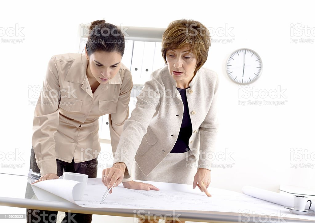 Female architects working at office royalty-free stock photo