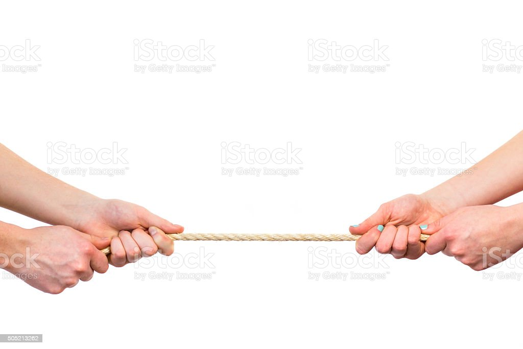 Female arms pulling rope on white background stock photo