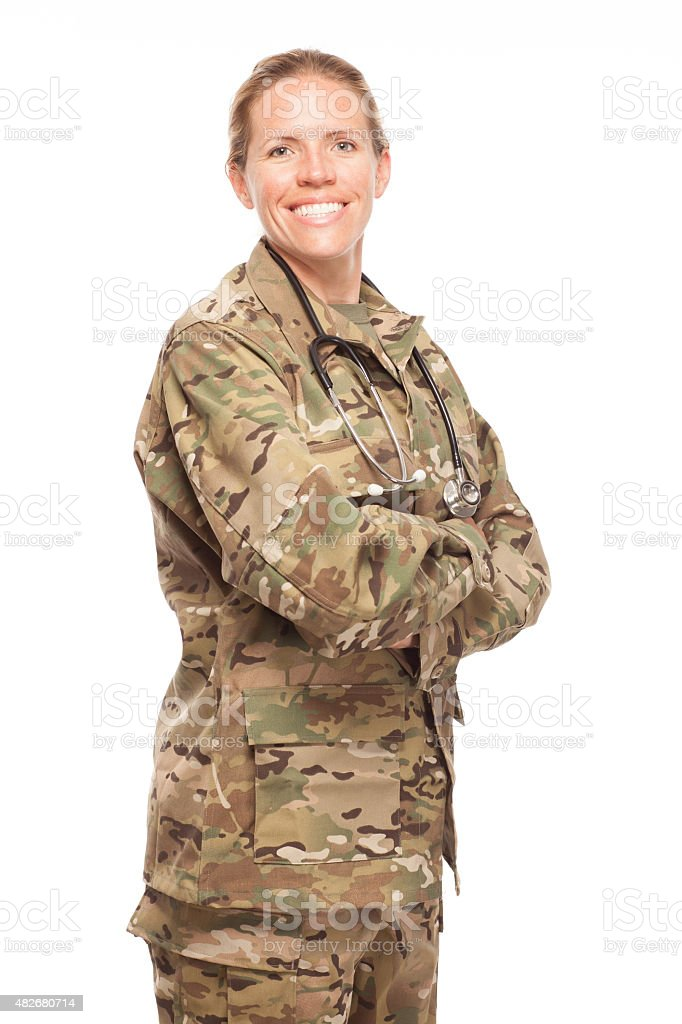 Female Army doctor in uniform. stock photo