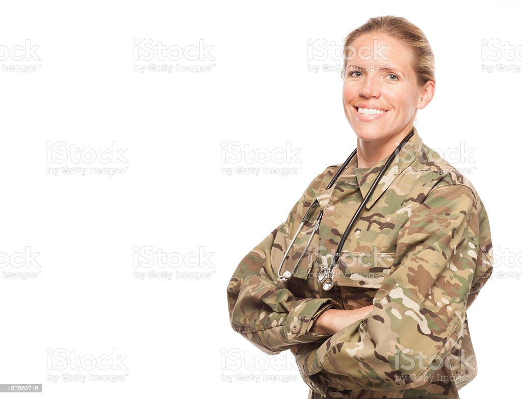 Female Army doctor in uniform with copy space. stock photo