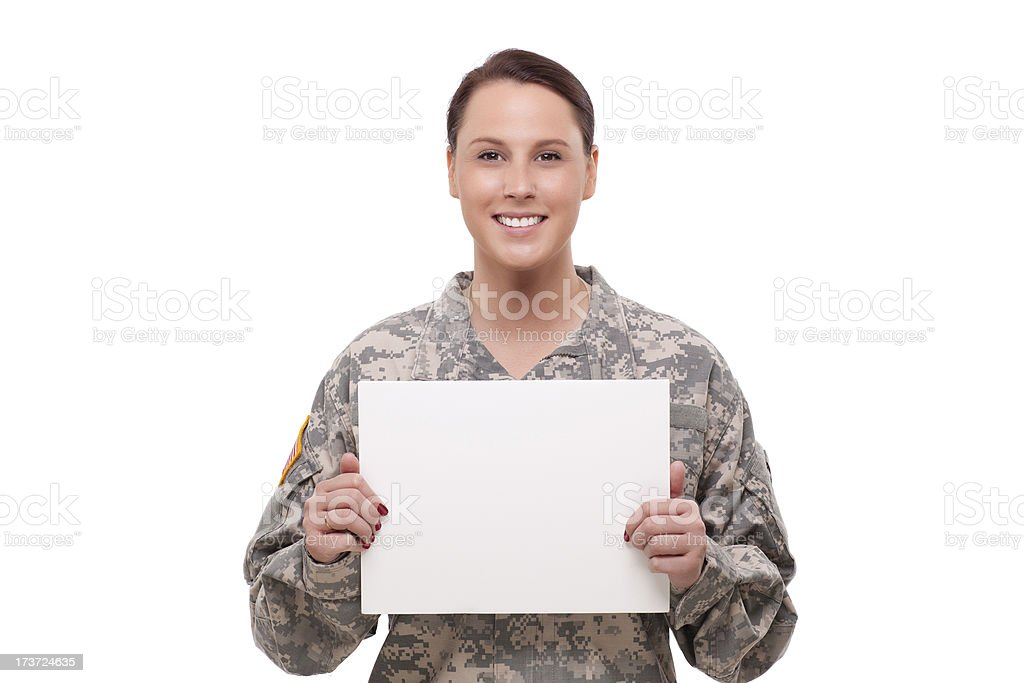 Female army soldier with a placard royalty-free stock photo