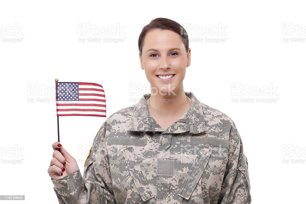 Female army soldier with American flag royalty-free stock photo
