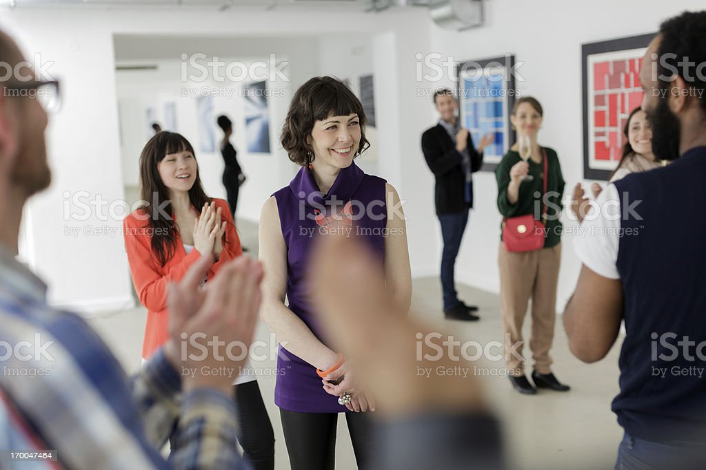 Female Artist in Art Gallery stock photo