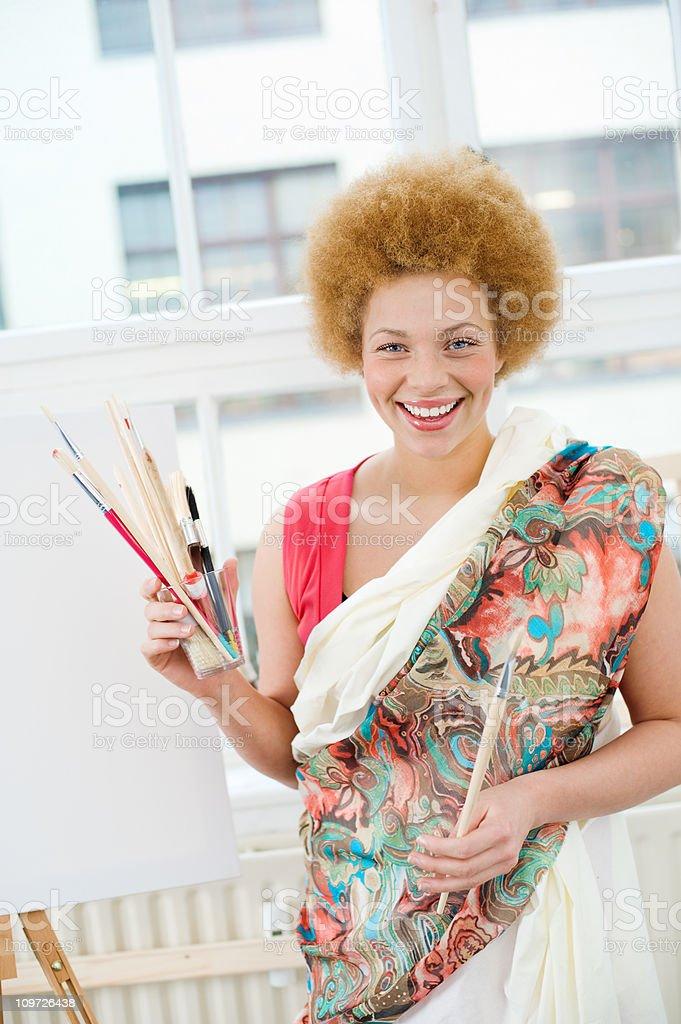 Female Artist in Studio royalty-free stock photo