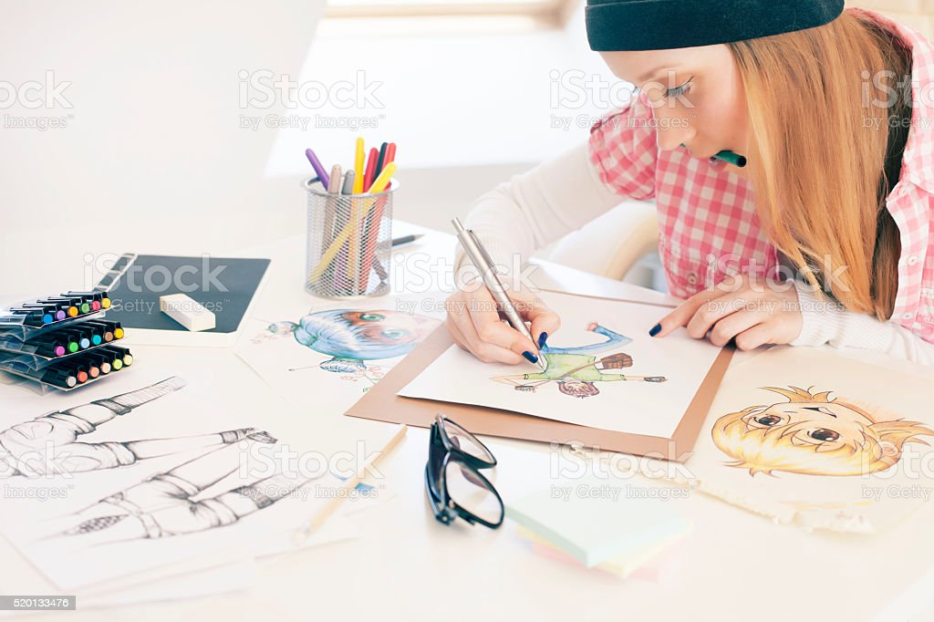 Female artist stock photo
