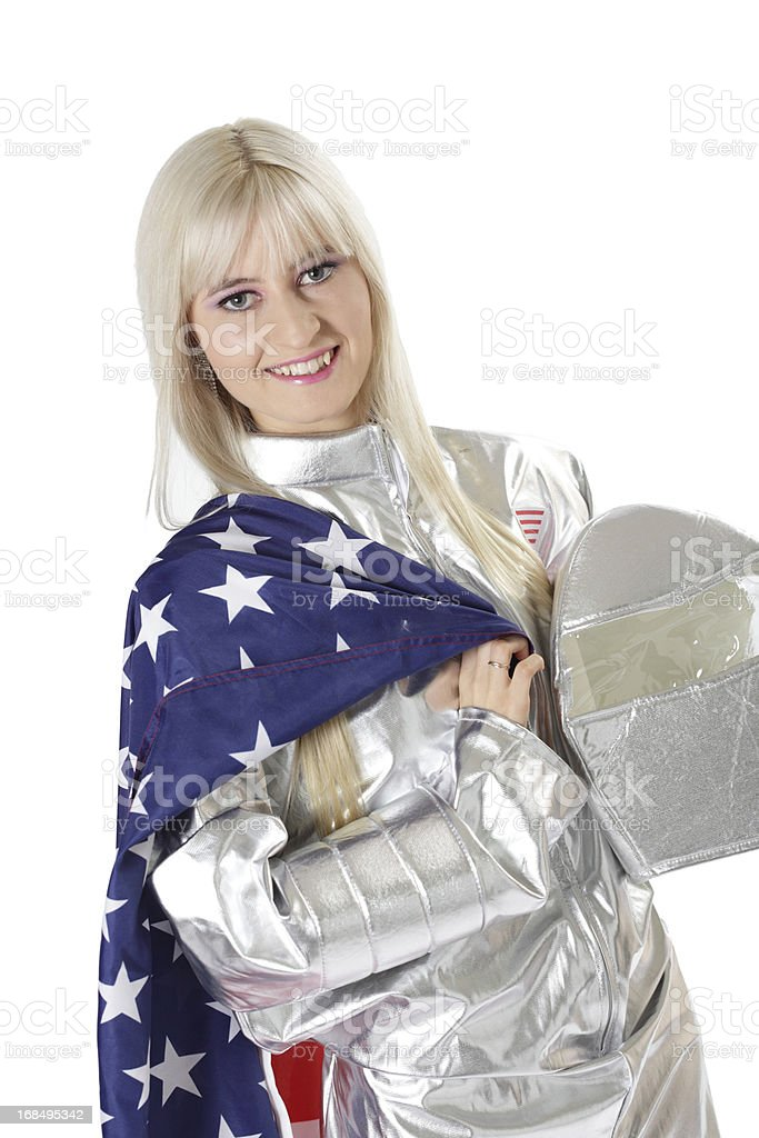 Female Astronaut with US Flag stock photo