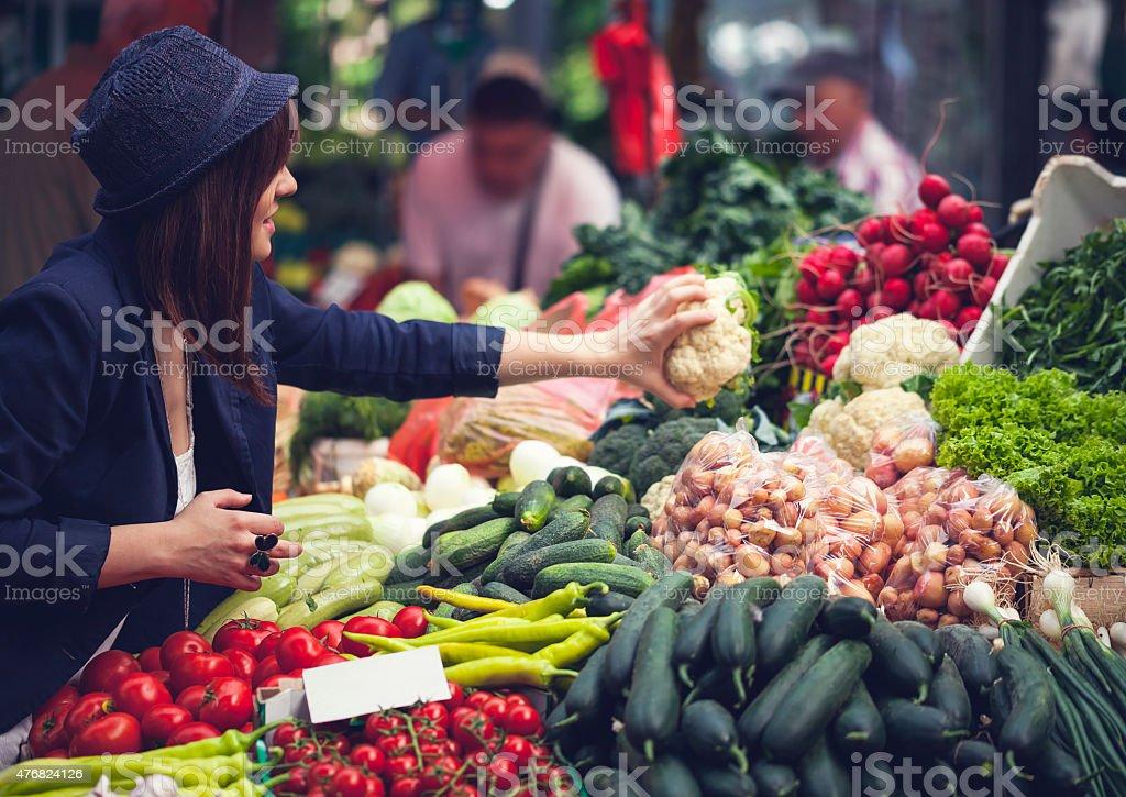 Female At Market Place stock photo