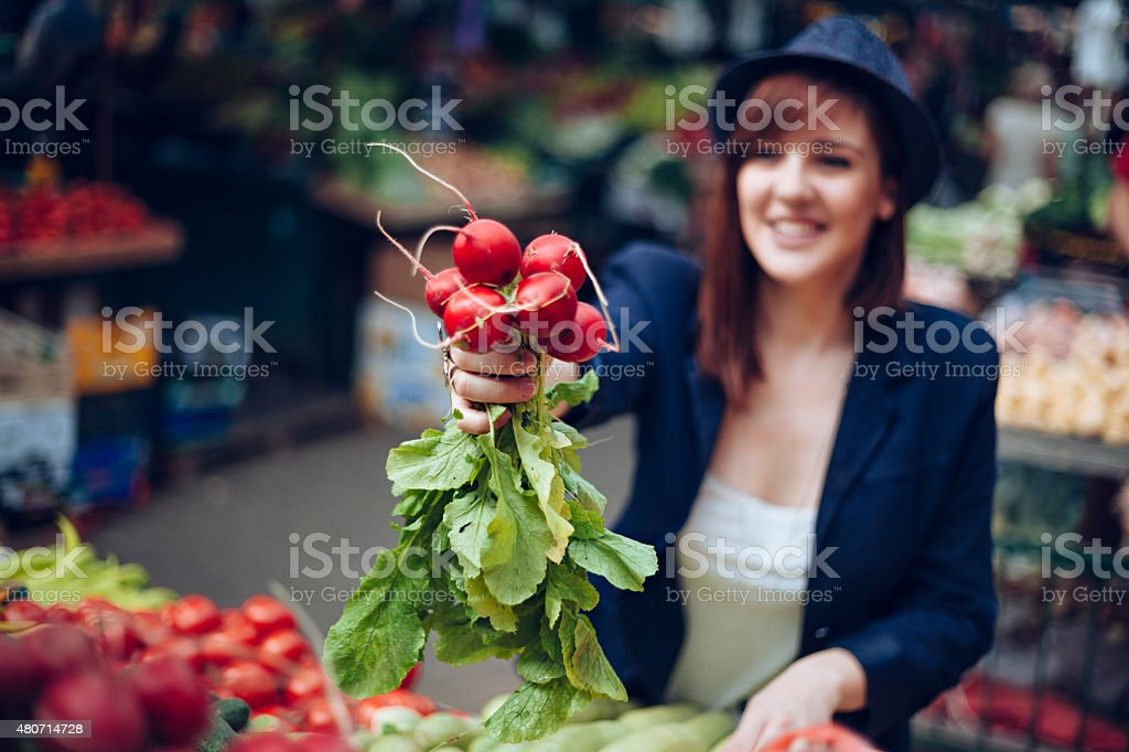 Female At Market Place stock photo
