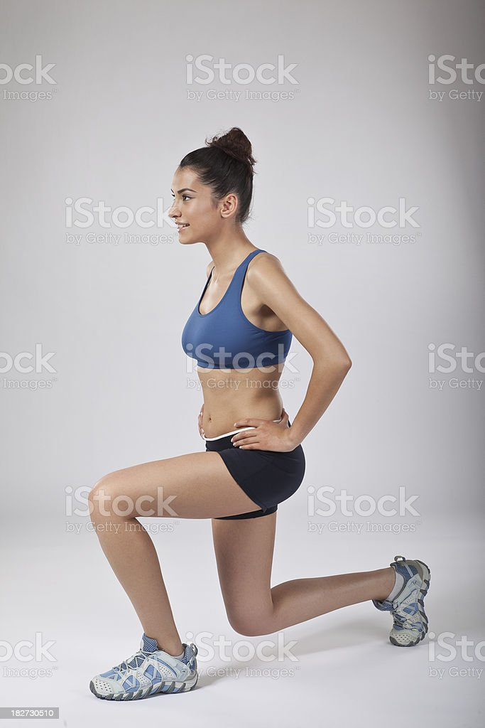 Female athlete crunching royalty-free stock photo