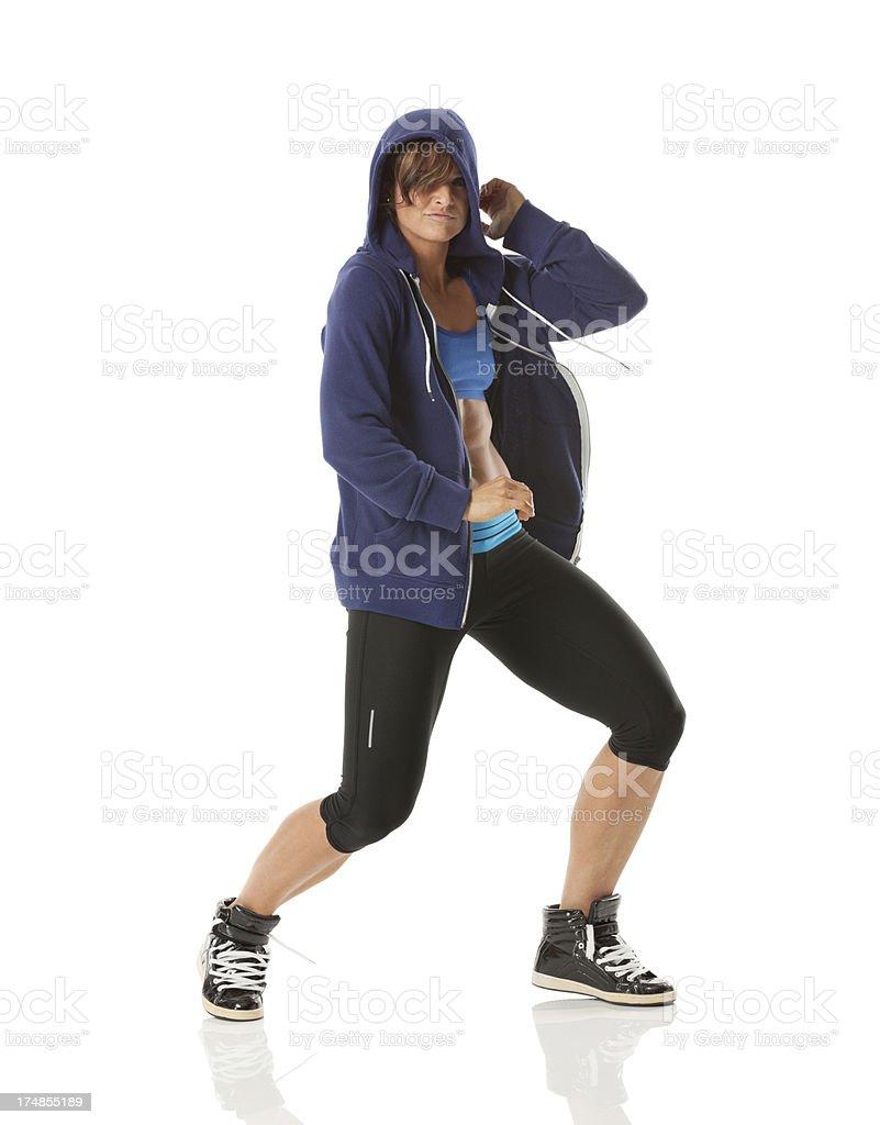 Female athlete doing aerobics royalty-free stock photo