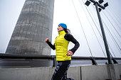 Female athlete in running motion