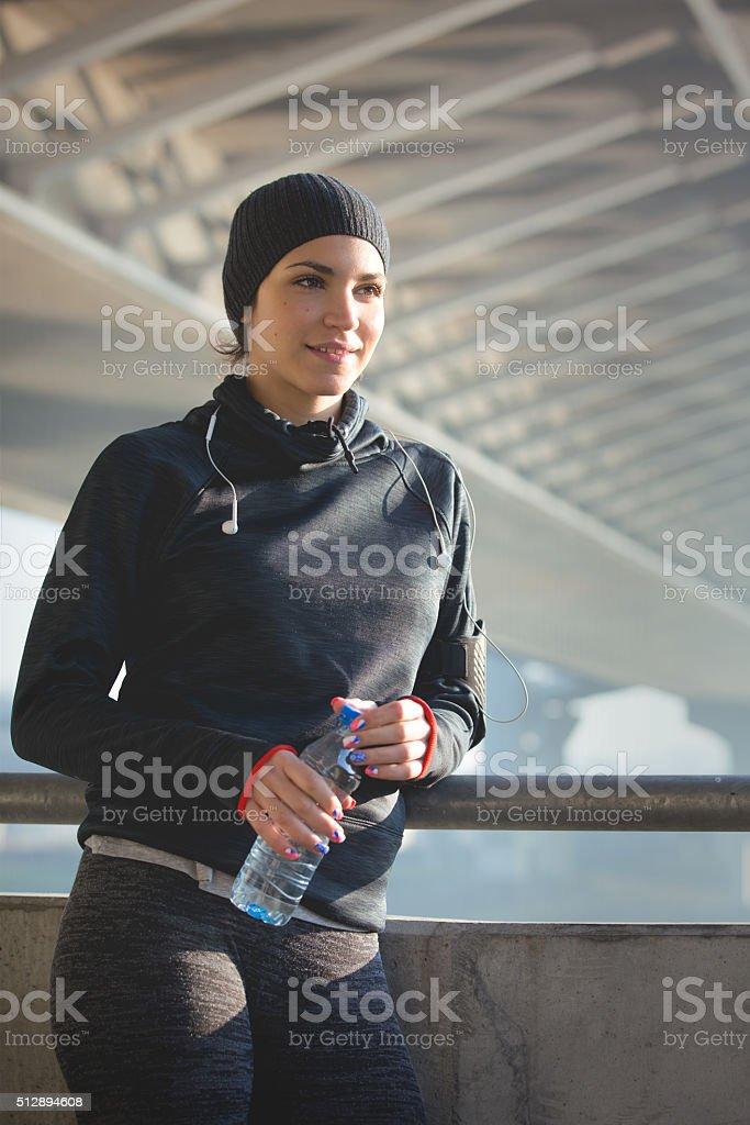Female athlete making a break stock photo
