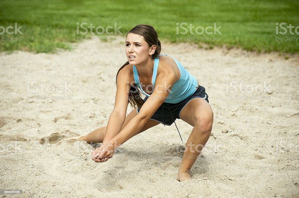 Female Athlete Playing Volleyball stock photo