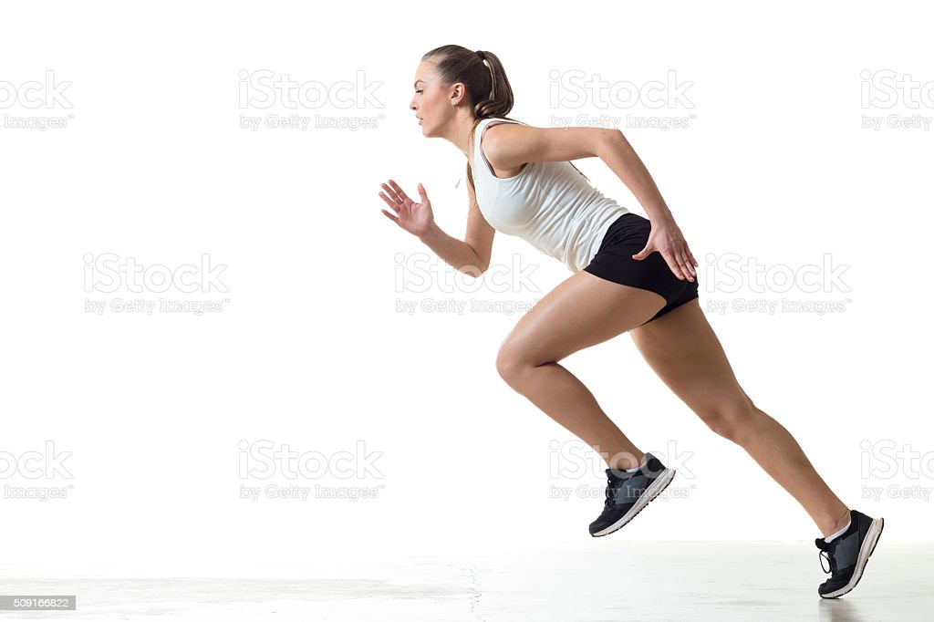 Female Athlete Practicing Start stock photo