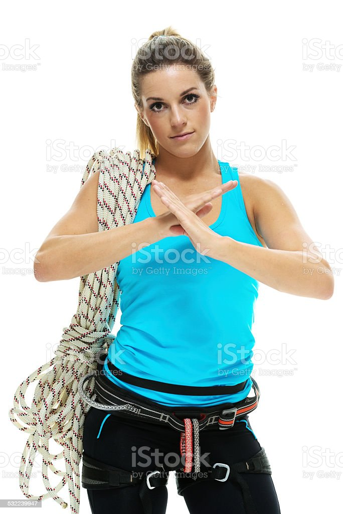 Female athlete showing the no sign stock photo