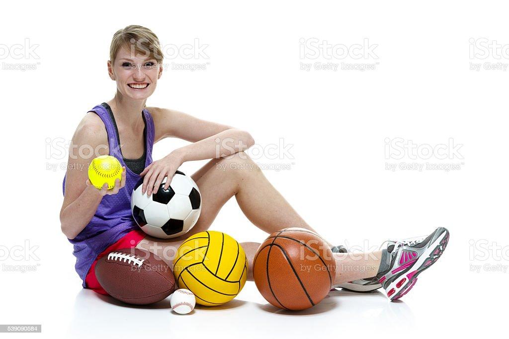 Female athlete sports ball stock photo