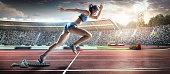 Female athlete sprinting