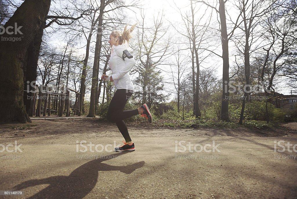 Female athlete training outdoor stock photo