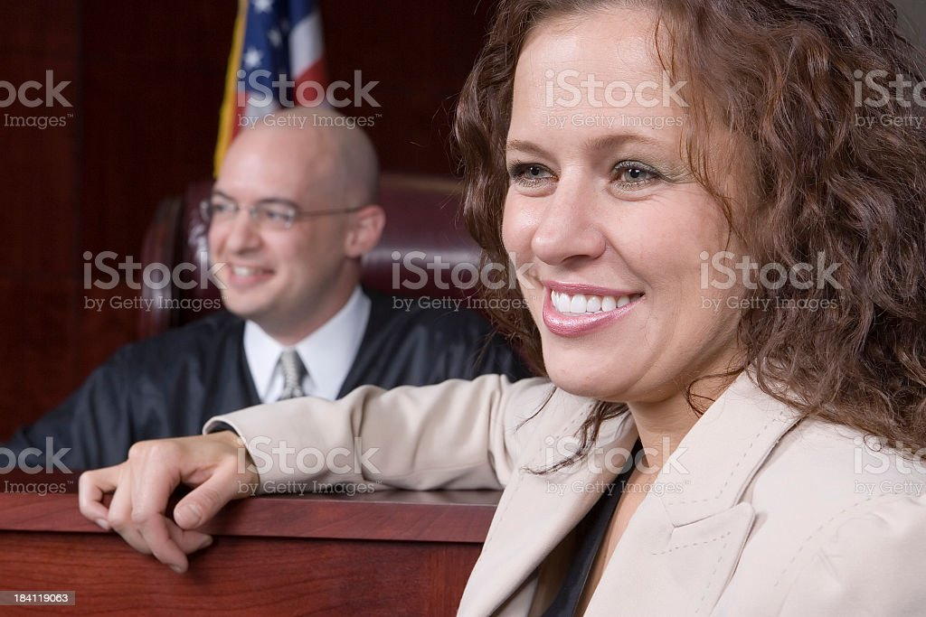 Female Attorney and Male Judge royalty-free stock photo