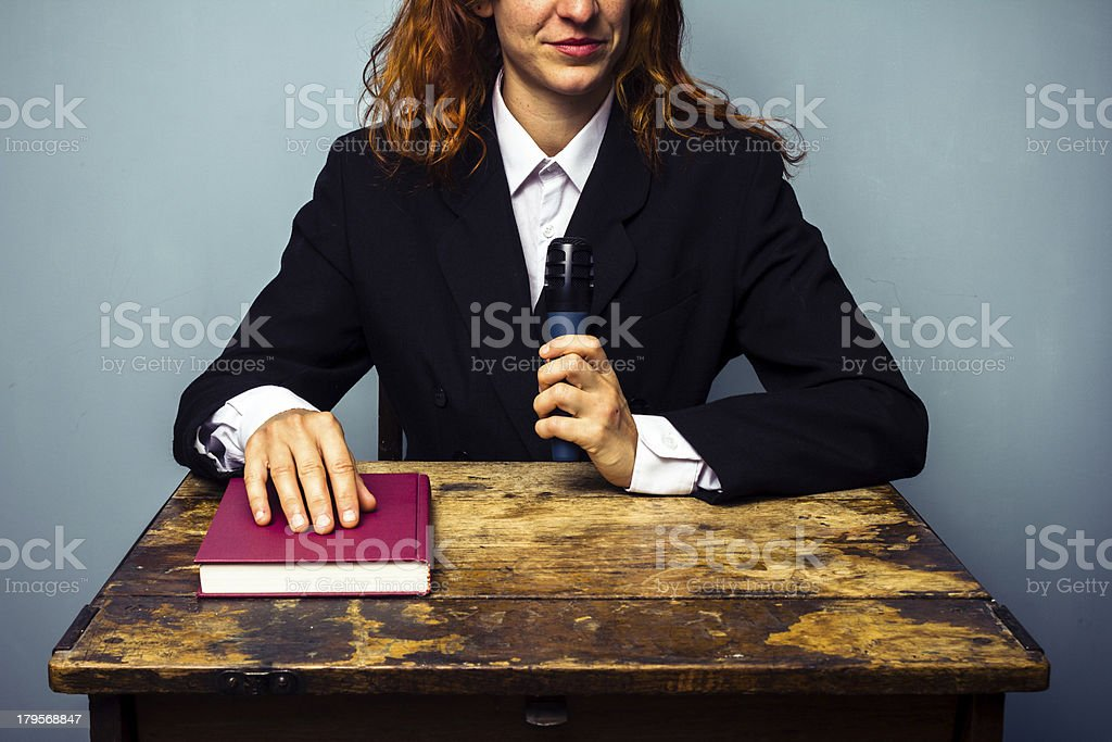 Female author at her book signing royalty-free stock photo