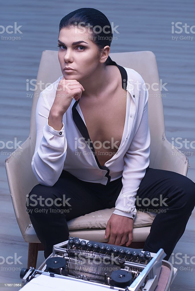 female author in white room royalty-free stock photo