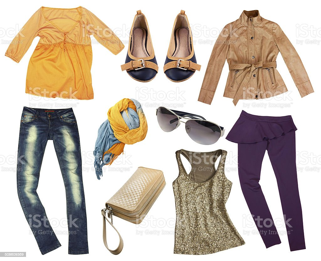 Female autumn fashion clothes collage. stock photo