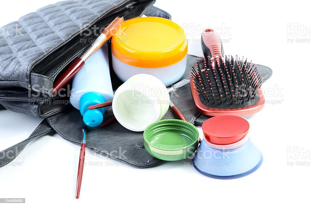 Female bag and cosmetics isolated stock photo