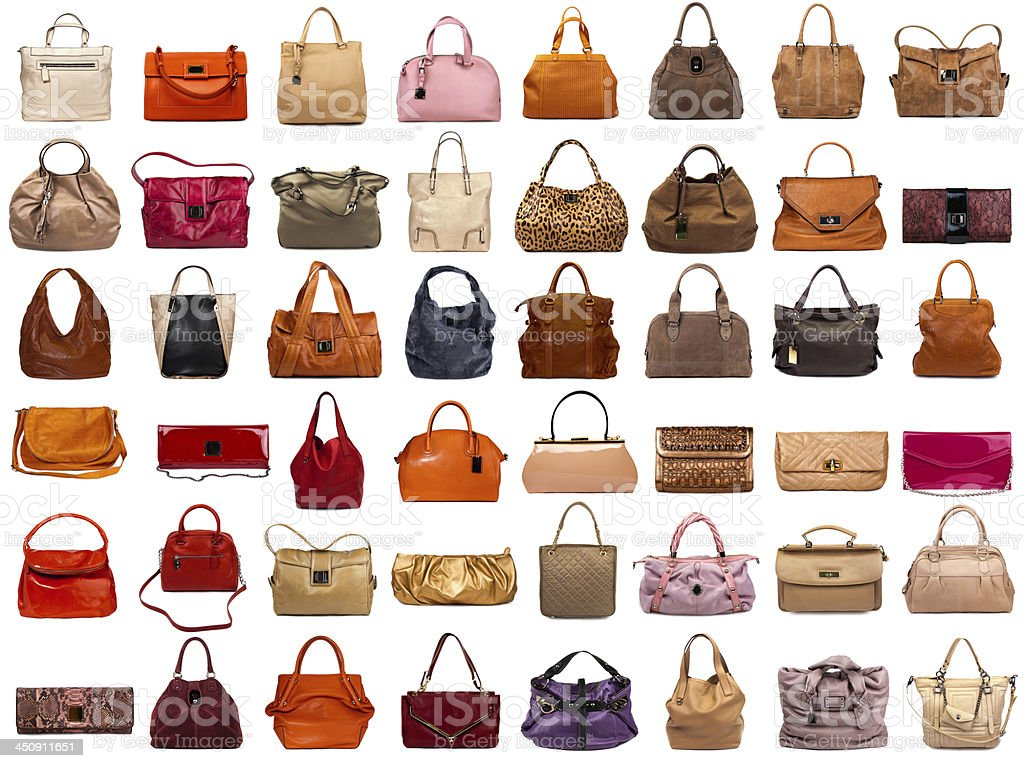 Female bags collection stock photo