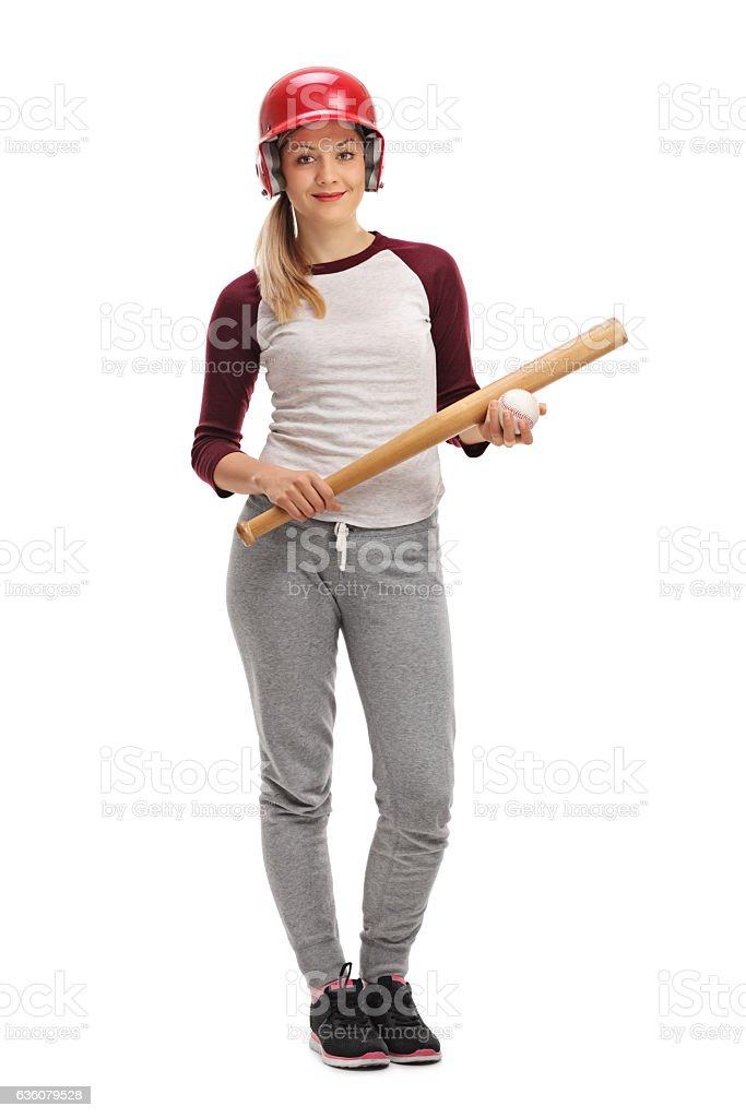 Female baseball player stock photo