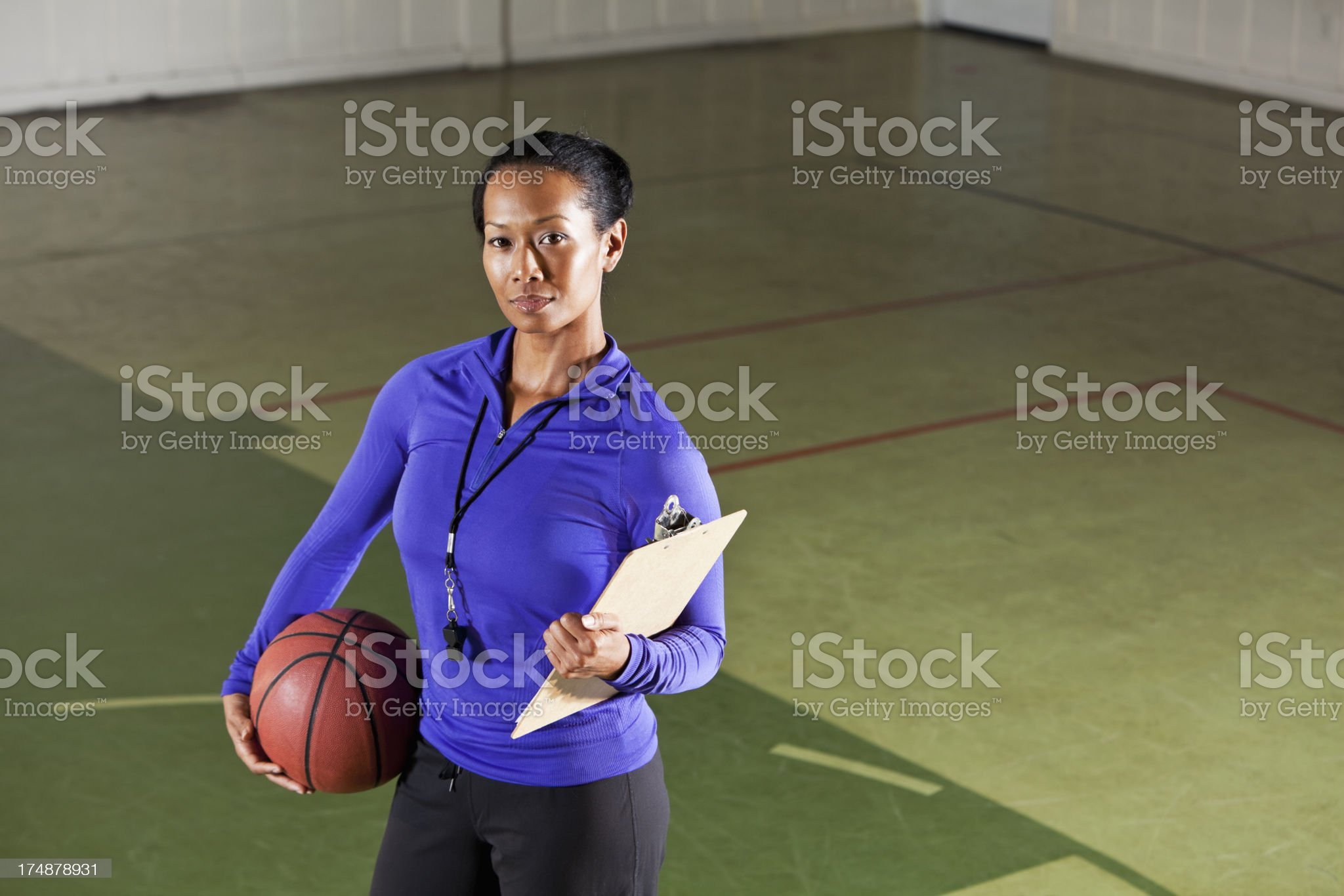 Female basketball coach royalty-free stock photo
