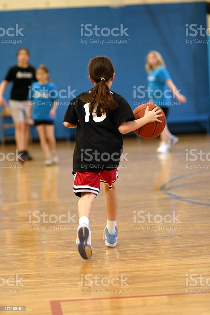 A female basketball player in school stock photo