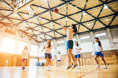 Female Basketball Team Playing in Japanese High School