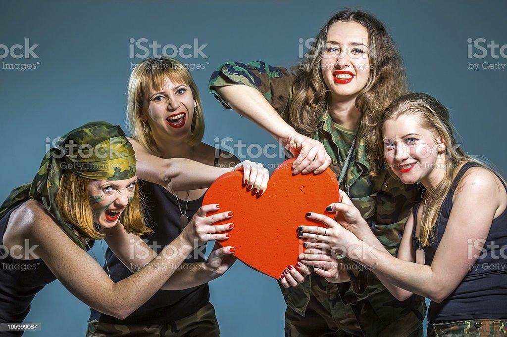 Female Battle for heart stock photo