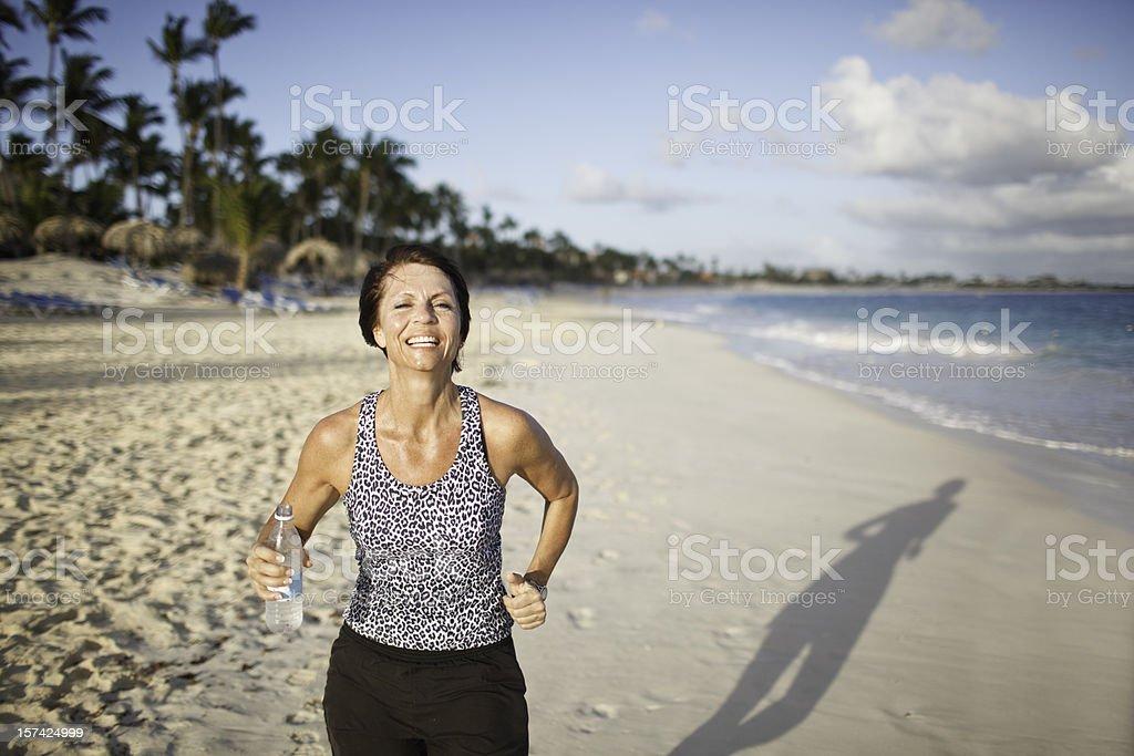 Female Beach Runner royalty-free stock photo