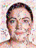 Female beatuy portrait made out of makeup imagery