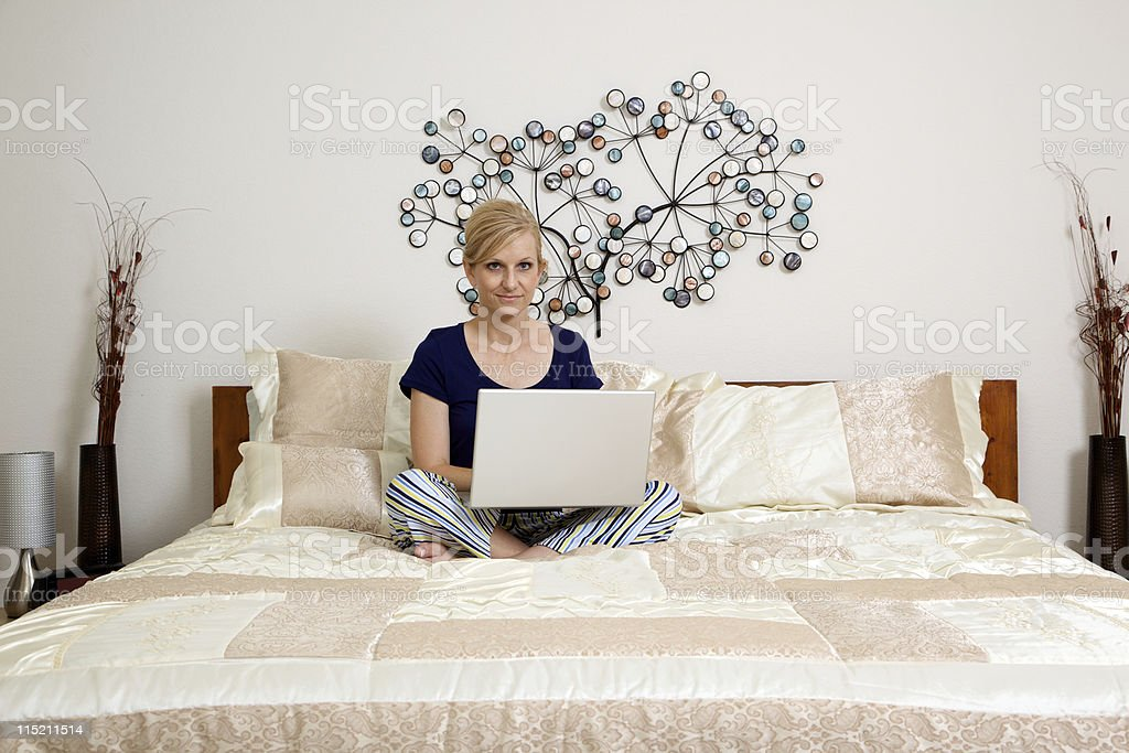 female bedroom laptop morning royalty-free stock photo