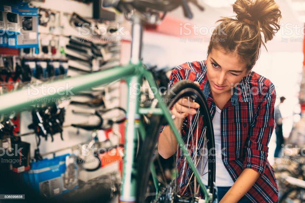 Female Bicycle Mechanic stock photo