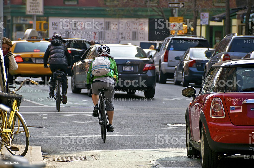 Female Bicyclists in New York City, Greenwich Village, Manhattan stock photo