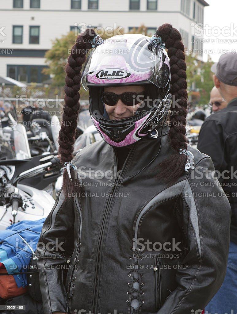 Female Biker at Oyster Run 9-23-12 stock photo