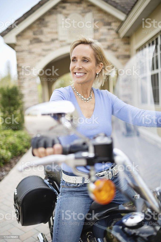 Female Biker On Motorcycle royalty-free stock photo