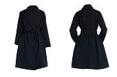 female black coat isolated on a white