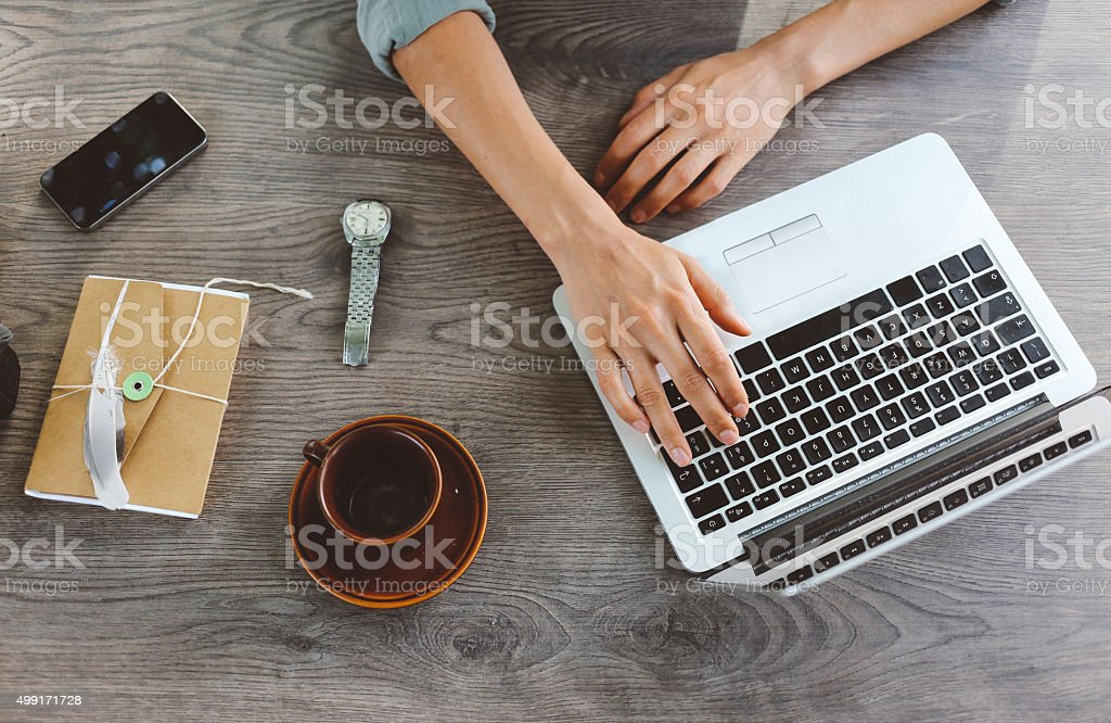 Female blogger writing on the laptop stock photo