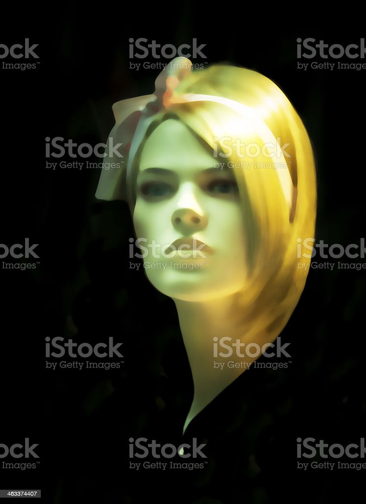 Female blond Mannequin isolated on black background, copy space royalty-free stock photo