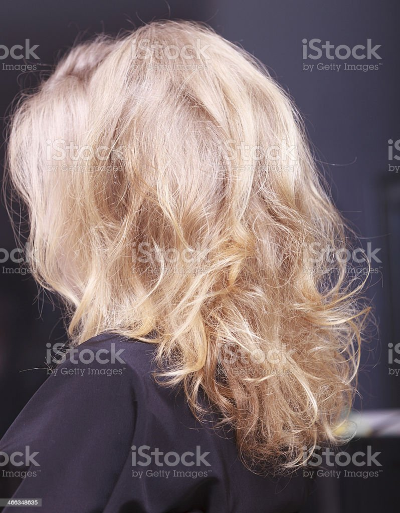 Female blond wavy hair. Back of woman head. Hairdressing salon. stock photo