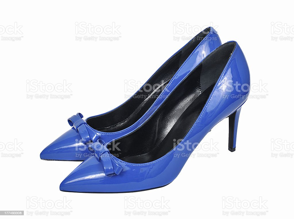 Female blue shoes royalty-free stock photo