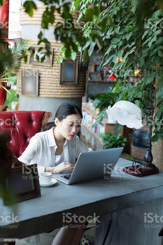 female boss talk online business stock photo