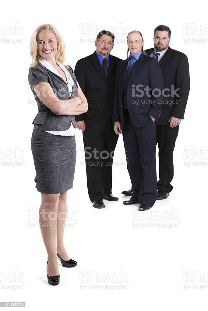 Female boss with an all-male team behind her on white royalty-free stock photo