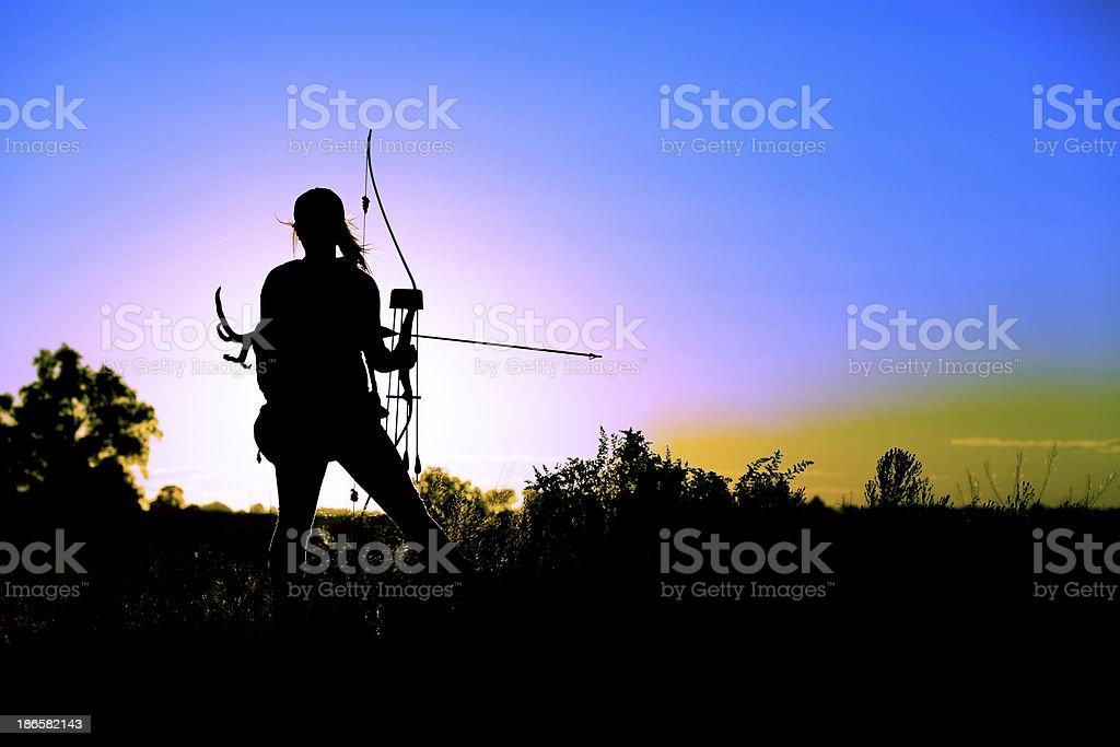 Female bow hunter royalty-free stock photo