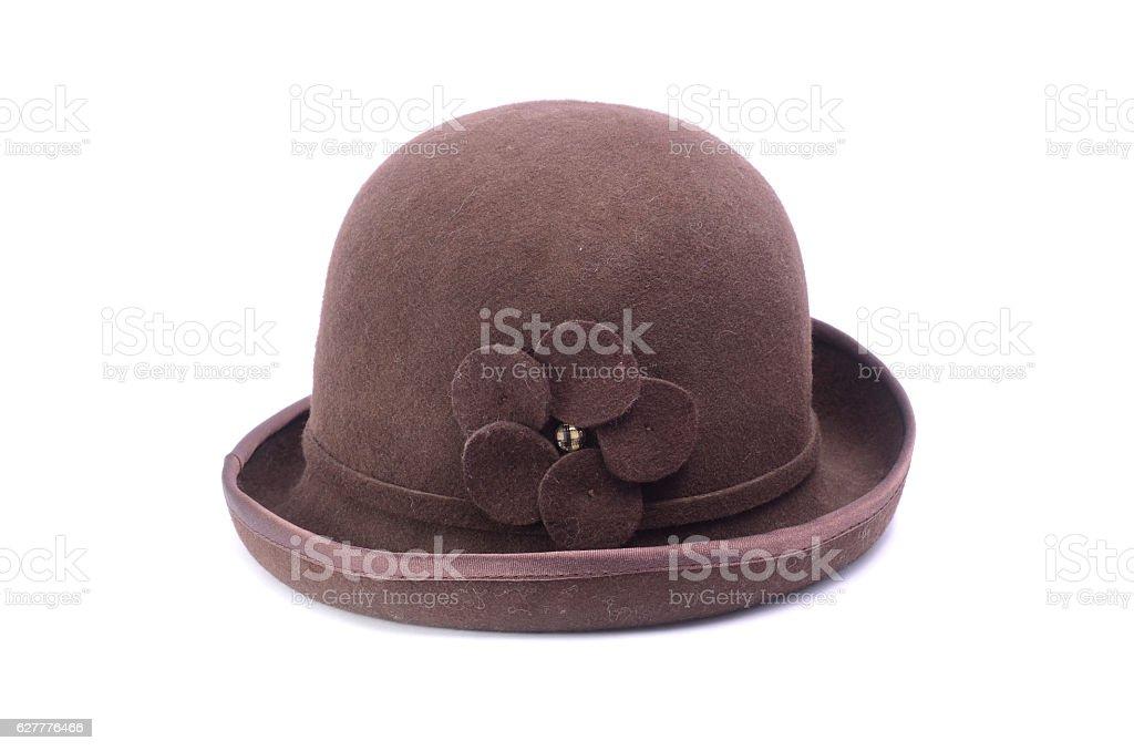 Female bowler hat isolated on white stock photo