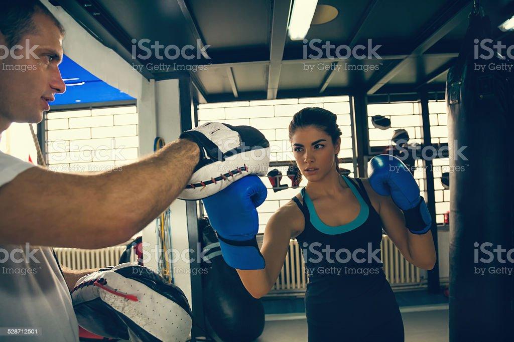 Female Boxer At Training stock photo